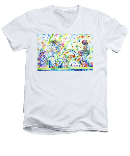 Led Zeppelin Live Concert - Watercolor Painting Men's V-Neck T-Shirt by Fabrizio Cassetta