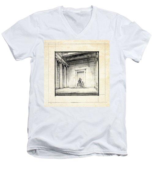 Lincoln Memorial Sketch IIi Men's V-Neck T-Shirt by Gary Bodnar