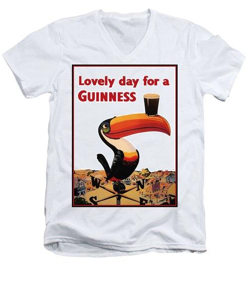 Lovely Day For A Guinness Men's V-Neck T-Shirt by Nomad Art