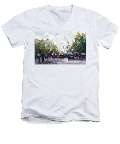 Madison - Capitol Men's V-Neck T-Shirt by Ryan Radke