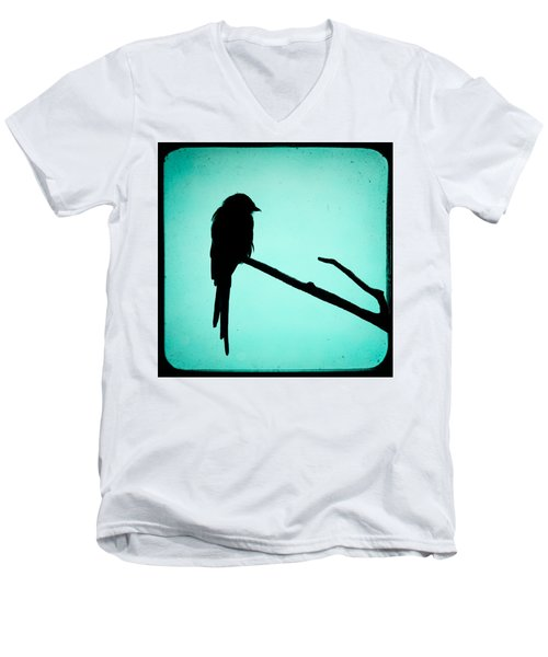 Magpie Shrike Silhouette Men's V-Neck T-Shirt by Gary Heller