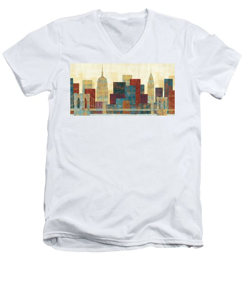 Majestic City Men's V-Neck T-Shirt by Michael Mullan