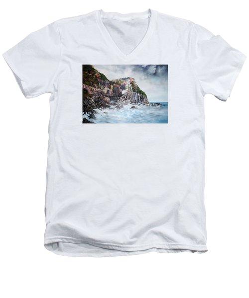 Manarola Italy Men's V-Neck T-Shirt by Jean Walker