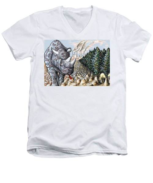 Money Against Nature - Cartoon Art Men's V-Neck T-Shirt by Art America Online Gallery
