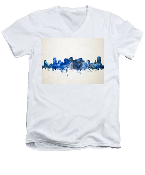 Nashville Skyline Watercolor 11 Men's V-Neck T-Shirt by Bekim Art