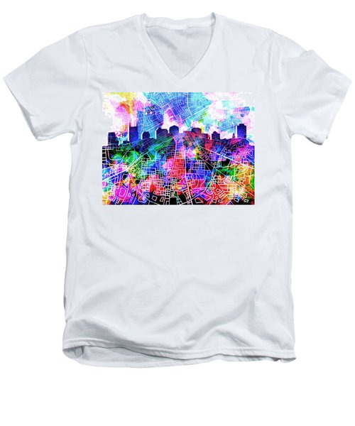 Nashville Skyline Watercolor 5 Men's V-Neck T-Shirt by Bekim Art