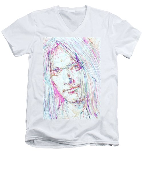 Neil Young - Colored Pens Portrait Men's V-Neck T-Shirt by Fabrizio Cassetta