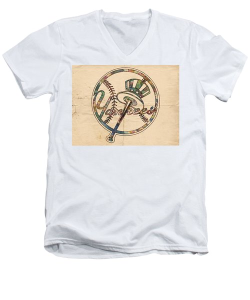 New York Yankees Poster Vintage Men's V-Neck T-Shirt by Florian Rodarte