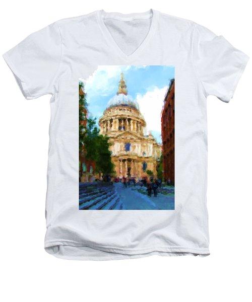 On The Steps Of Saint Pauls Men's V-Neck T-Shirt by Jenny Armitage