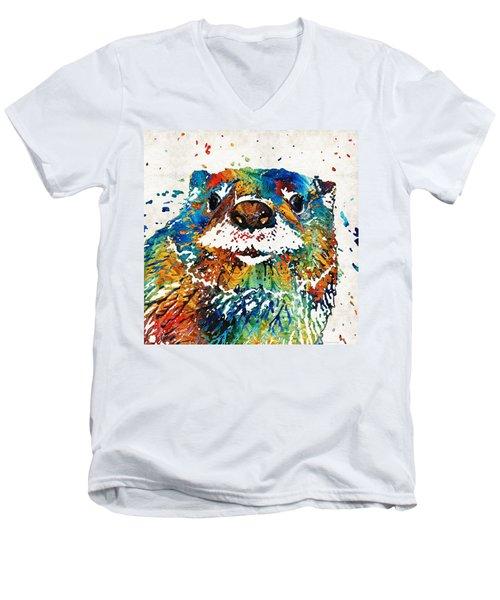 Otter Art - Ottertude - By Sharon Cummings Men's V-Neck T-Shirt by Sharon Cummings