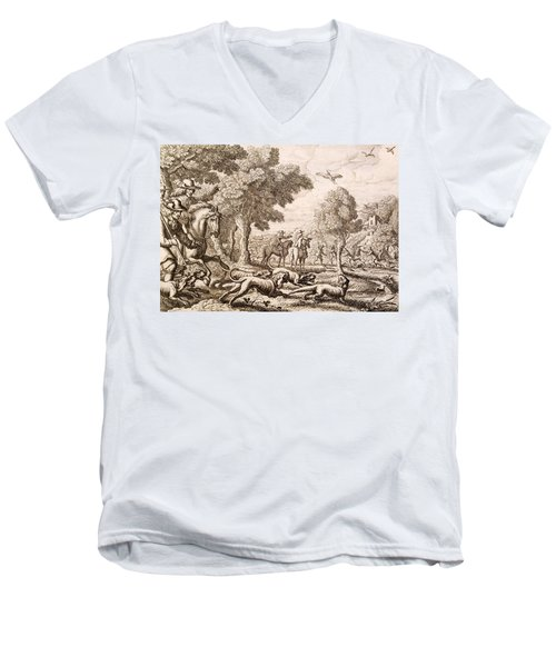 Otter Hunting By A River, Engraved Men's V-Neck T-Shirt by Francis Barlow