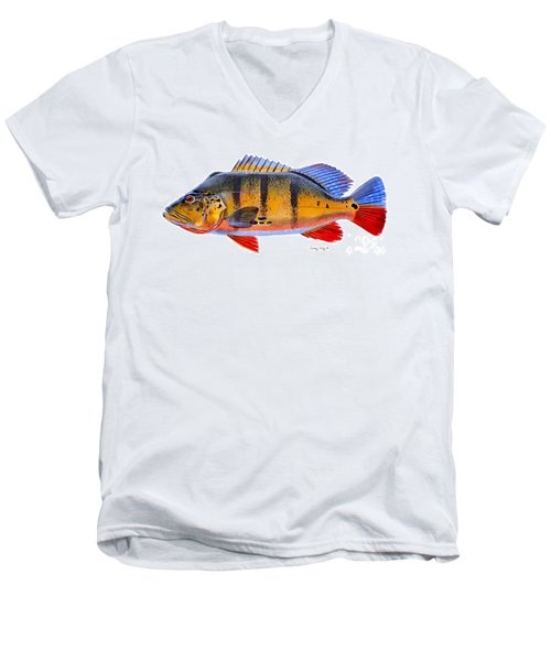 Peacock Bass Men's V-Neck T-Shirt by Carey Chen