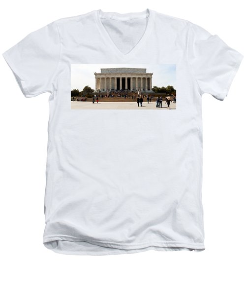 People At Lincoln Memorial, The Mall Men's V-Neck T-Shirt by Panoramic Images