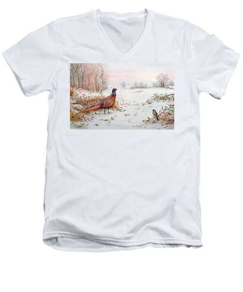 Pheasant And Bramblefinch In The Snow Men's V-Neck T-Shirt by Carl Donner