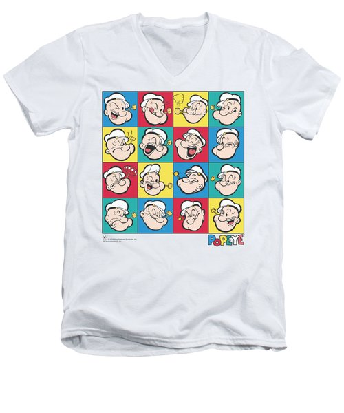 Popeye - Color Block Men's V-Neck T-Shirt by Brand A