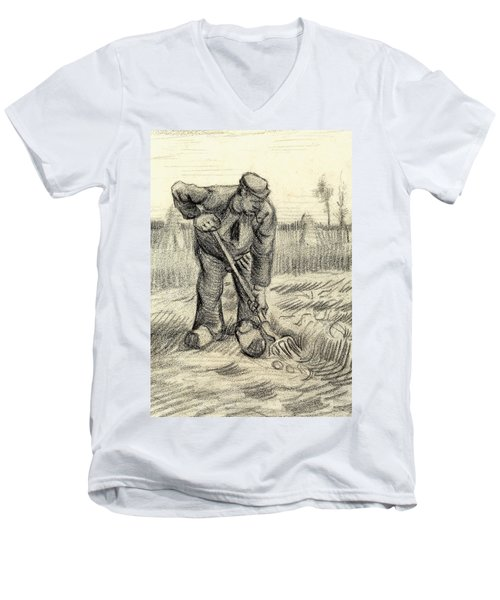 Potato Gatherer Men's V-Neck T-Shirt by Vincent Van Gogh