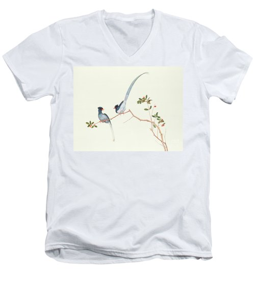 Red Billed Blue Magpies On A Branch With Red Berries Men's V-Neck T-Shirt by Chinese School