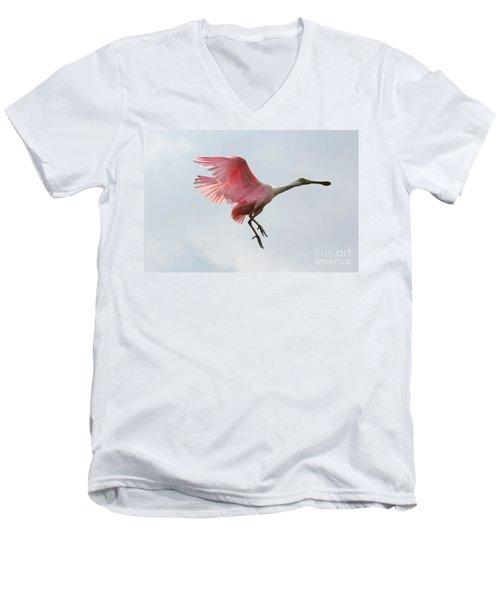 Roseate Spoonbill In Flight Men's V-Neck T-Shirt by Carol Groenen