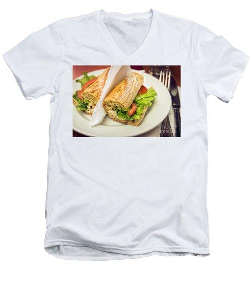 Sandwish On Table Men's V-Neck T-Shirt by Carlos Caetano