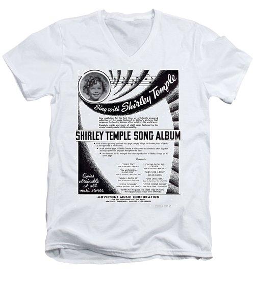 Shirley Temple Song Album Men's V-Neck T-Shirt by Mel Thompson