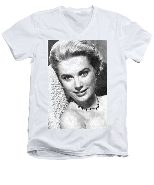 Simply Stunning Grace Kelly Men's V-Neck T-Shirt by Florian Rodarte