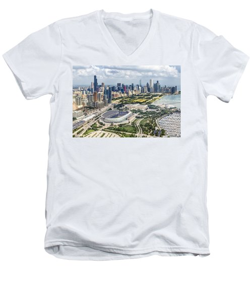 Soldier Field And Chicago Skyline Men's V-Neck T-Shirt by Adam Romanowicz