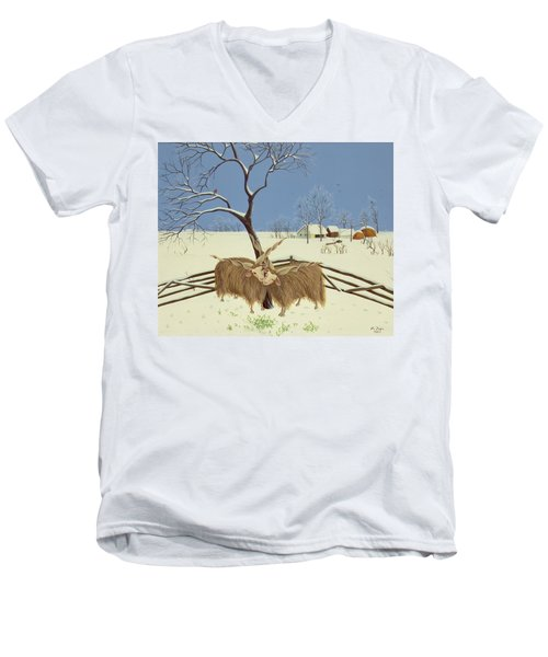 Spring In Winter Men's V-Neck T-Shirt by Magdolna Ban
