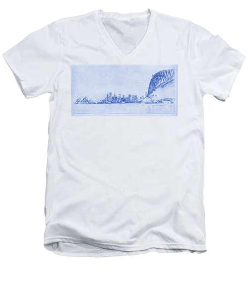 Sydney Skyline Blueprint Men's V-Neck T-Shirt by Kaleidoscopik Photography
