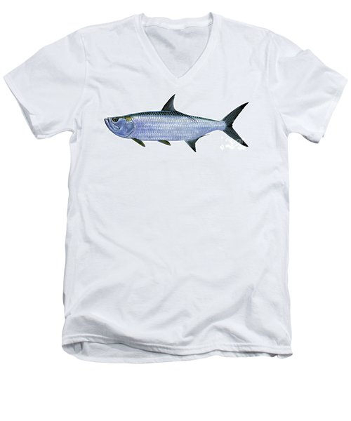 Tarpon Men's V-Neck T-Shirt by Carey Chen