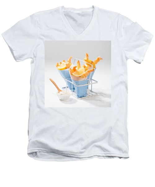 Tempura Prawns Men's V-Neck T-Shirt by Amanda Elwell