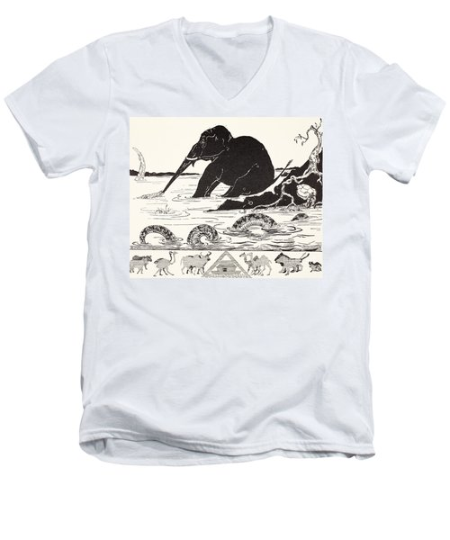The Elephant's Child Having His Nose Pulled By The Crocodile Men's V-Neck T-Shirt by Joseph Rudyard Kipling