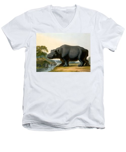 The Hippopotamus, 1804 Men's V-Neck T-Shirt by Samuel Daniell