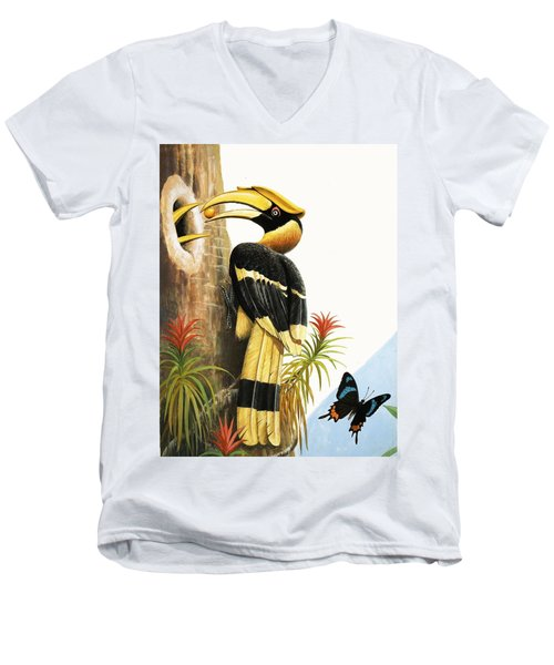 The Hornbill Men's V-Neck T-Shirt by R.B. Davis