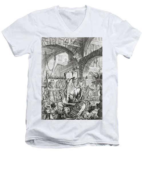 The Man On The Rack Plate II From Carceri D'invenzione Men's V-Neck T-Shirt by Giovanni Battista Piranesi