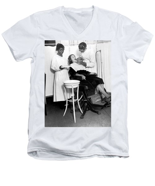 The North Harlem Dental Clinic Men's V-Neck T-Shirt by Underwood Archives