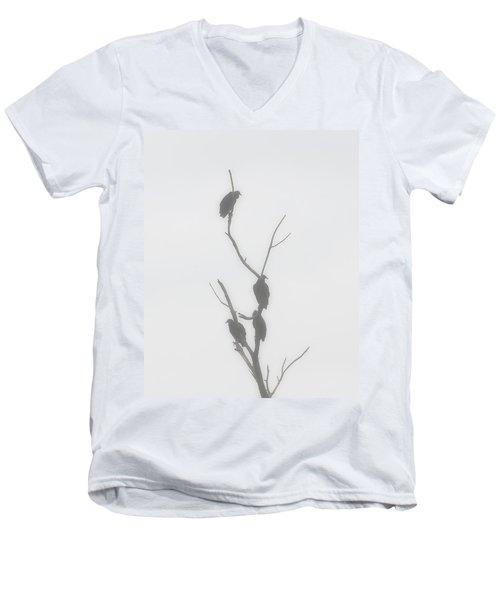 Their Waiting Four Black Vultures In Dead Tree Men's V-Neck T-Shirt by Chris Flees