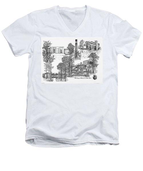 University Of Arkansas Men's V-Neck T-Shirt by Liz  Bryant