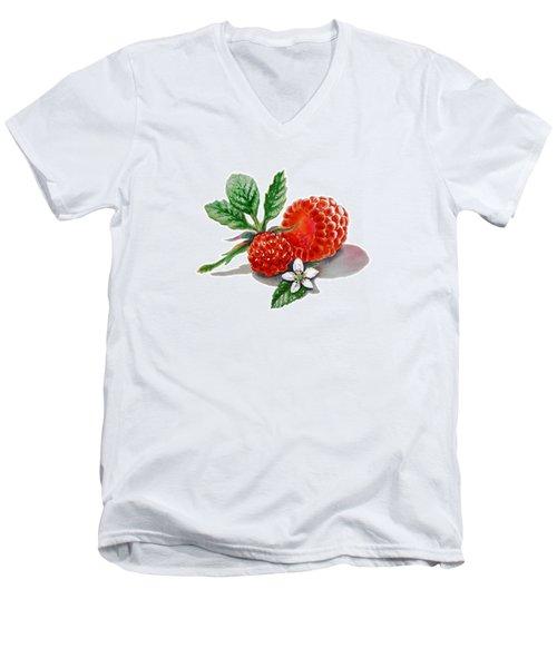 Artz Vitamins A Very Happy Raspberry Men's V-Neck T-Shirt by Irina Sztukowski