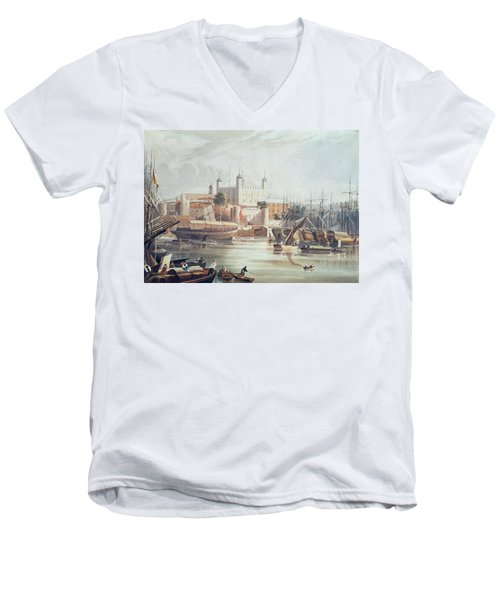 View Of The Tower Of London Men's V-Neck T-Shirt by John Gendall