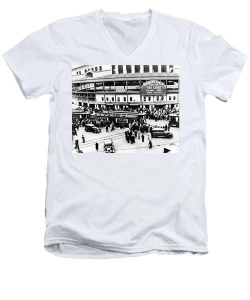 Vintage Wrigley Field Men's V-Neck T-Shirt by Bill Cannon