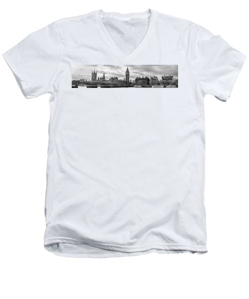 Westminster Panorama Men's V-Neck T-Shirt by Heather Applegate