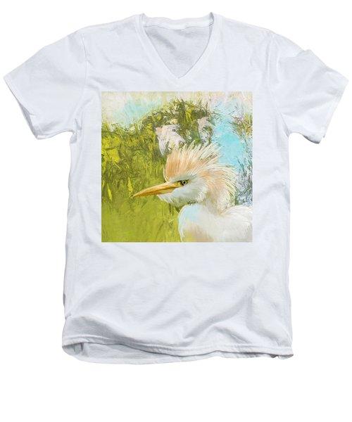 White Kingfisher Men's V-Neck T-Shirt by Catf