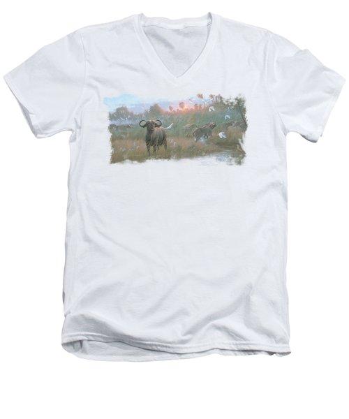 Wildlife - Cape Buffalo Men's V-Neck T-Shirt by Brand A