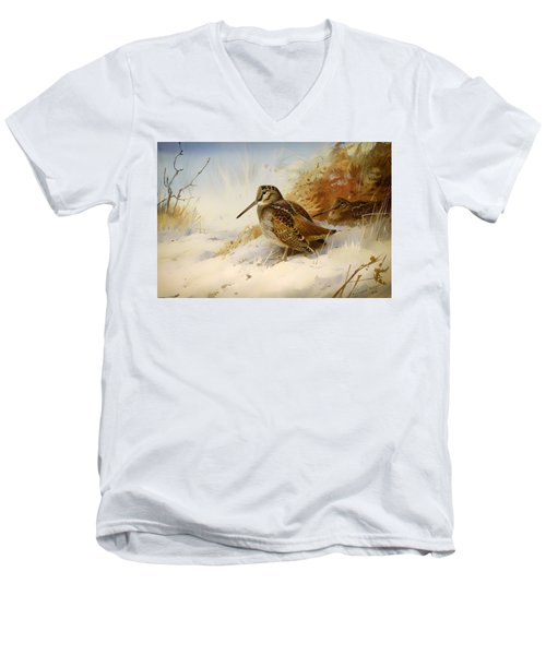 Winter Woodcock Men's V-Neck T-Shirt by Mountain Dreams
