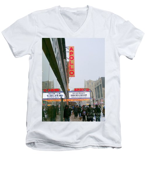 Wintry Day At The Apollo Men's V-Neck T-Shirt by Ed Weidman