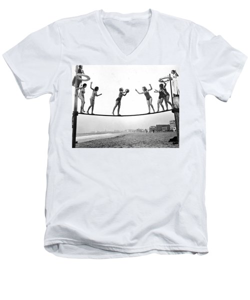 Women Play Beach Basketball Men's V-Neck T-Shirt by Underwood Archives