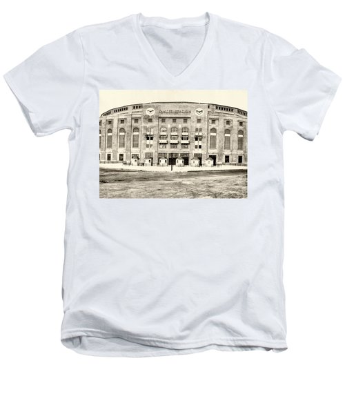 Yankee Stadium Men's V-Neck T-Shirt by Bill Cannon