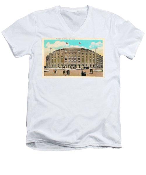 Yankee Stadium Postcard Men's V-Neck T-Shirt by Digital Reproductions