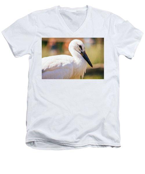 Young Stork Portrait Men's V-Neck T-Shirt by Pati Photography