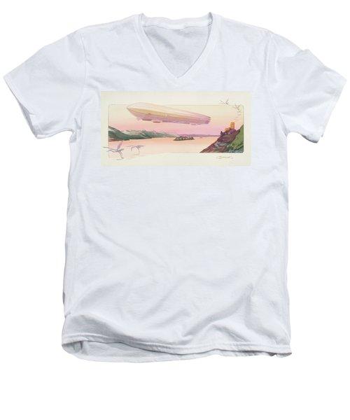 Zeppelin, Published Paris, 1914 Men's V-Neck T-Shirt by Ernest Montaut
